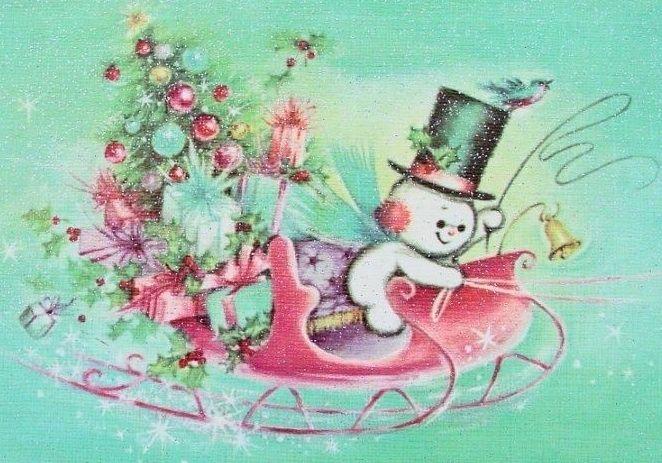 Aqua Vintage Christmas card