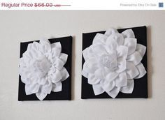 """MOTHERS DAY SALE Two Flower Wall Hangings -White Dahlia on Black 12 x12"""" Canvas Wall Art- Black and White Wall Decor"""