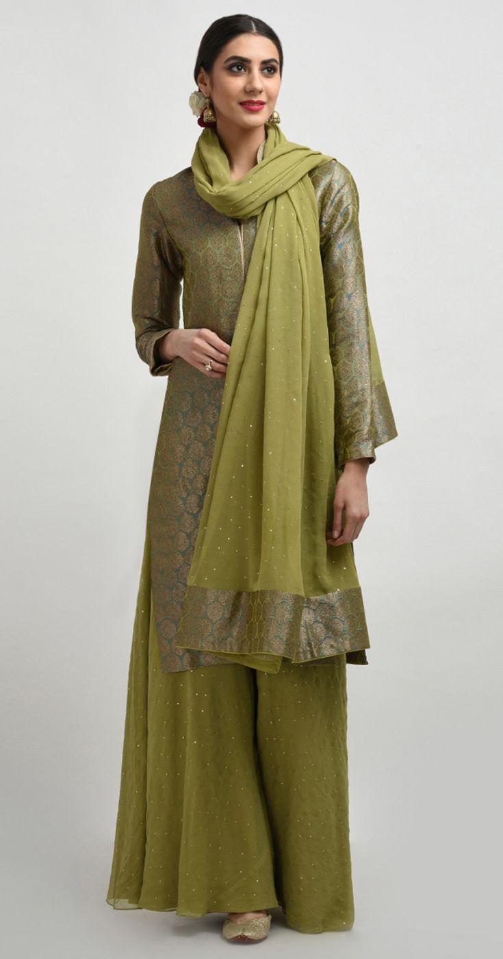Mehandi Green Banarasi Brocade Jacket With Mukaish Palazzo & Dupatta