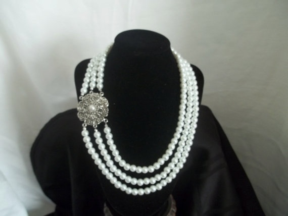 3 strand Pearl Necklace by Beadit669 on Etsy, $55.00