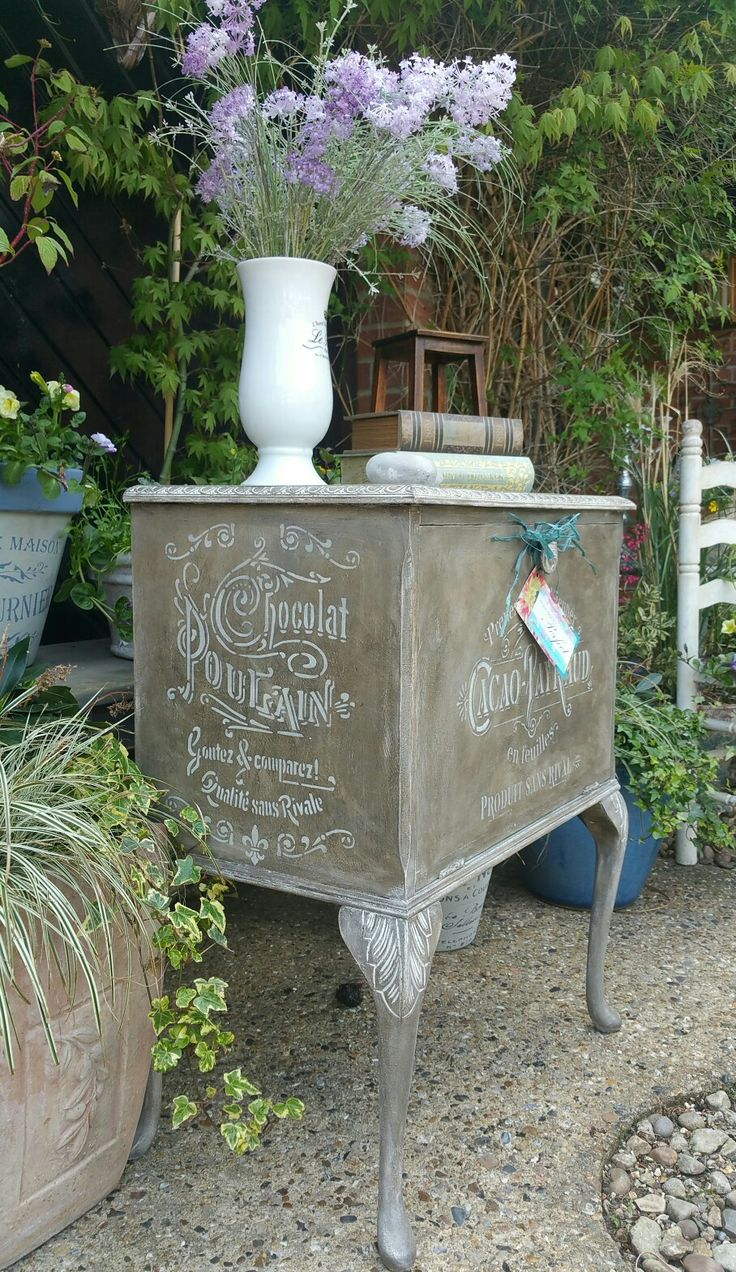 Shabby chic painted cabinet in Annie Sloan's old white with a custom mixed wax from As dark wax and graphite, with French stencil detailing, by Imperfectly Perfect xx