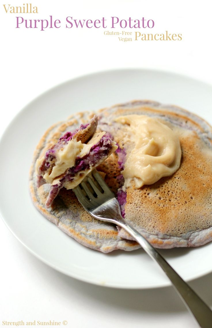 Vanilla Purple Sweet Potato Pancakes | Strength and Sunshine @RebeccaGF666 Naturally purple and the definition of a healthy superfood breakfast! Vanilla Purple Sweet Potato Pancakes that are gluten-free and vegan will have you rethinking your boring old weekend pancakes!