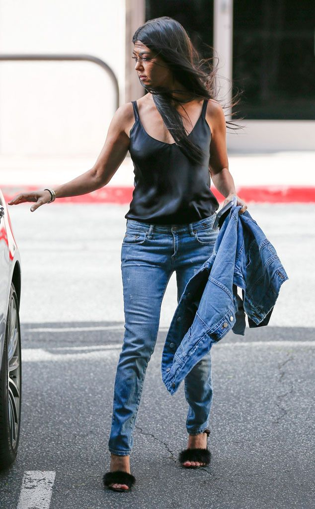 Kourtney Kardashian from The Big Picture: Today's Hot Pics  Wind blown! The E! star steps out into the L.A. wind, wearing her distressed jeans and furry footwear.