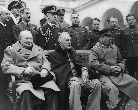 By 1945, USSR was stronger and Britain a lot weaker than Churchill had anticipated.   Winston Churchill asked his War Cabinet for a plan to invade Soviet Union. The generals drew up a plan. Codenamed Operation Unthinkable, it proposed Western forces attack the Soviets on a front extending from Hamburg in the north to Trieste in the south.  Churchill, Roosevelt & Stalin at the Yalta Conference - 1945. Source: US Library of Congress/wikipedia.org