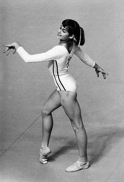 Nadia Comaneci. I used to read about her when I used to compete. She was the first gymnast to score a 10 in the olympics! Neat story about how Bela Karolyi found her and trained her...