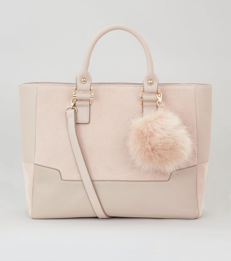 Pink Contrast Panel Pom Pom Tote Bag | New Look