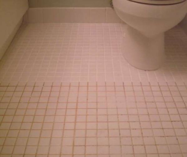 Mix 7 cups water, 1/2 cup baking soda, 1/3 cup lemon juice and 1/4 cup vinegar. Spray the concoction onto the dirty grout, let sit, and scrub with a brush. Sparkling grout await. by Mgauna