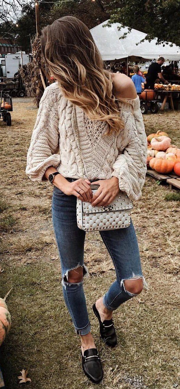 #fall #outfits beige crochet sweater
