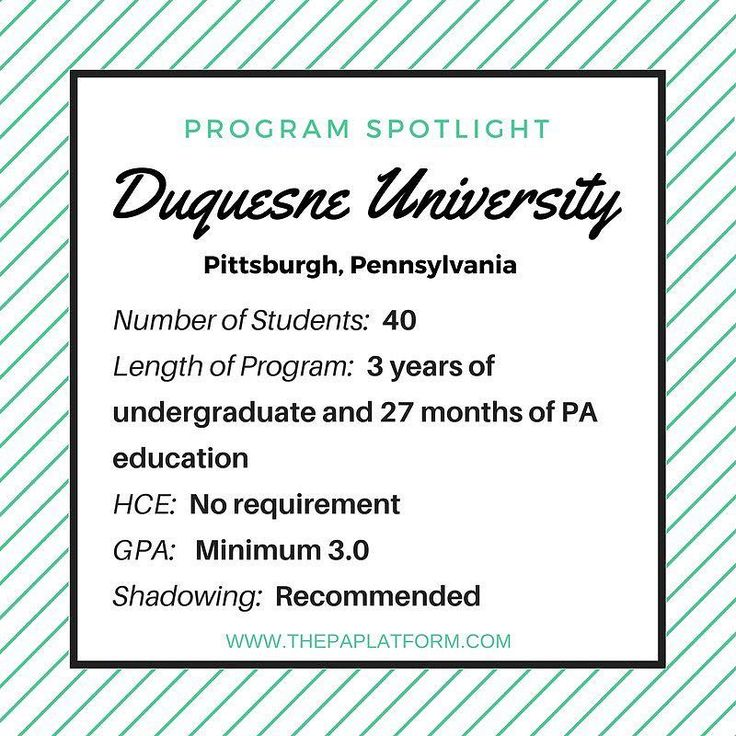 Program Spotlight on @DuquesneUniversity in Pittsburgh Pennsylvania!  This program is unique because it is a 5-year program that you start as college freshman with 3 years of prerequisite coursework and then completion of the PA program!  Check out thePAplatform.com for a list of (most) PA Programs in the nation! . . . #prepa #pacoach #prepaclub #dermpa #paschool #paprogram #physicianassistant #futurePA #mockinterview #futurephysicianassistant #beapa #pa #pas #pac #pastudent #medicine…