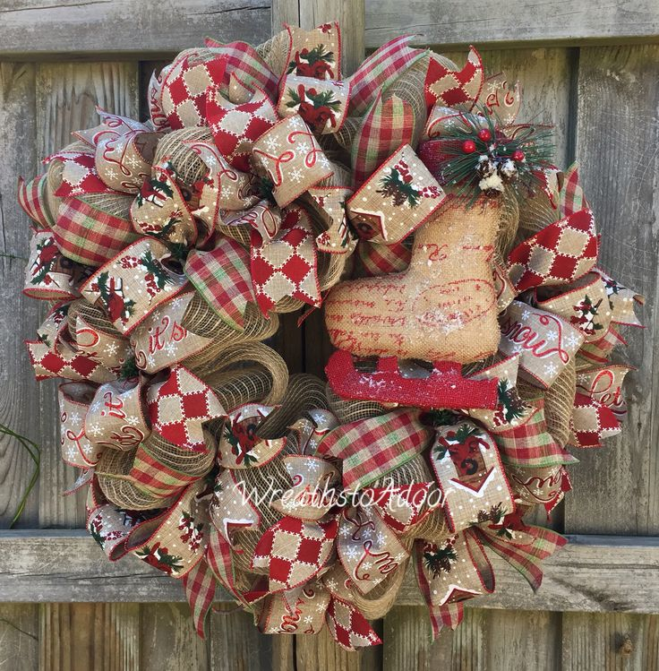 Christmas mesh wreath created by Wreaths to Adoor