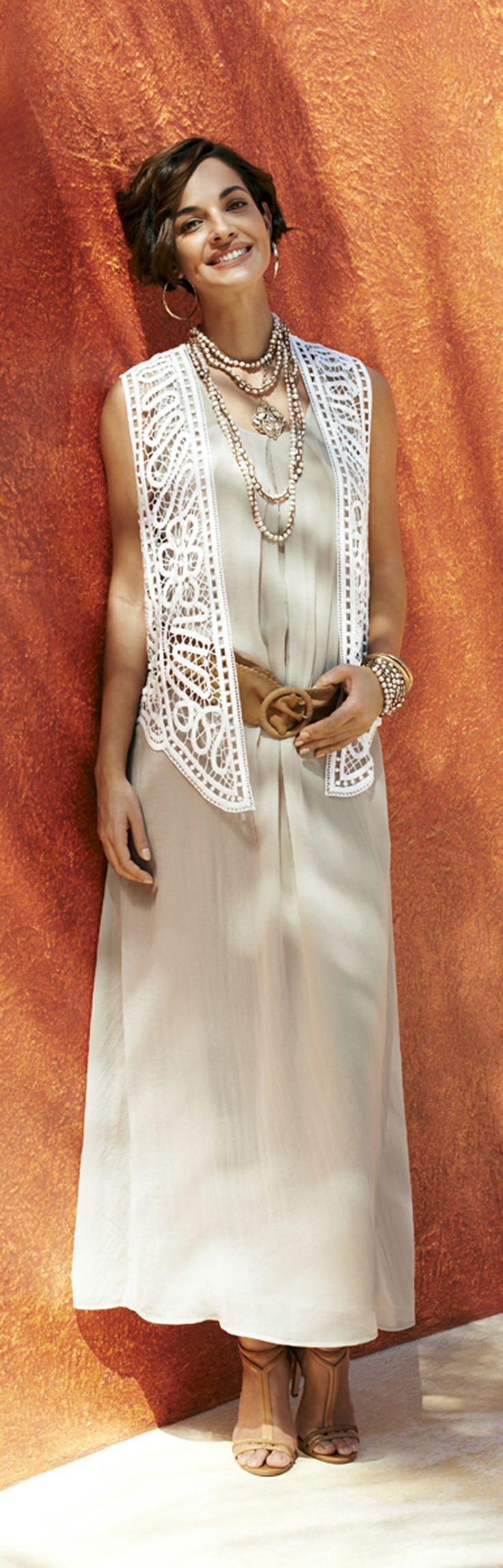 Pair Chico's Grace Maxi Dress with our Crochet Vest