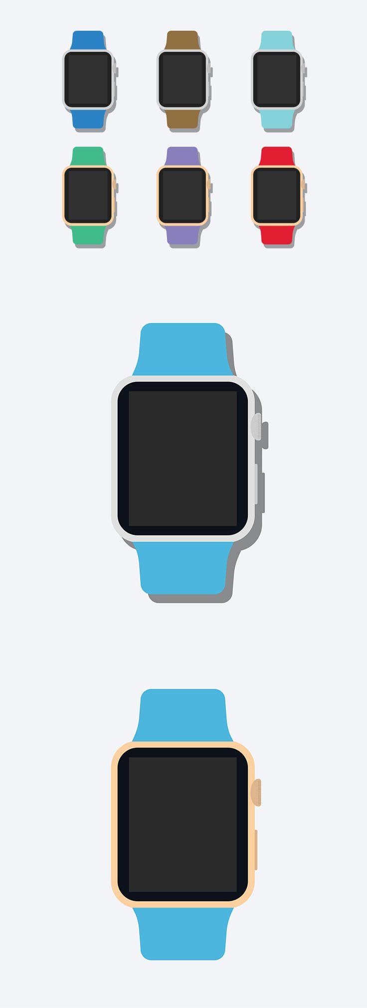 Today's freebie is a Flat 2D Apple Watch Mockup designed by Anthony Boyd. This mockup features a Flat Apple Watch with editable band colors. Also The frames are switchable between gold and silver. Free for personal and commercial use.