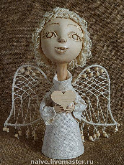 """Купить """"Наивный ангел с сердцем"""" - дерево, ручная работа, натуральные материалы, авторская работа, сувенир"""