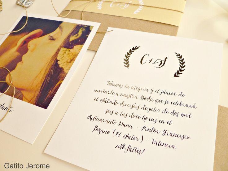 Invitación BODA Polaroid. Tarjeta con vuestra mejor foto + tarjeta con los datos de la boda + tarjeta mapa o regalo de boda + Presentación con una tira impresa del color que más te guste | Invitations Wedding Polaroid