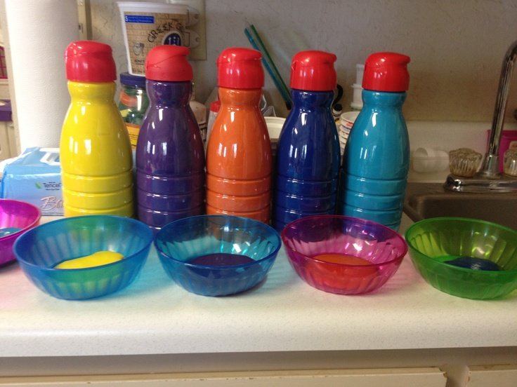 great way to use old coffee creamer bottles. keeps paint fresh and makes pouring easy and mess free! using it right now.