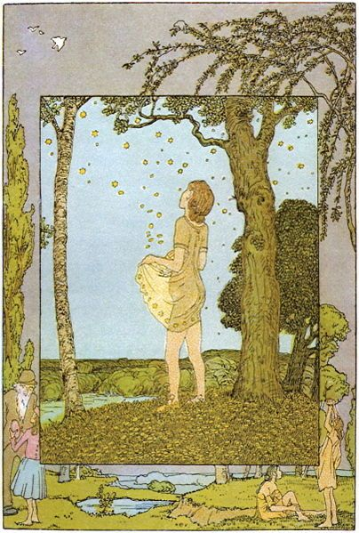 Die Sterntaler, fairy tale about girl who gives everything away and is given in return stars that turn to money/abundance.