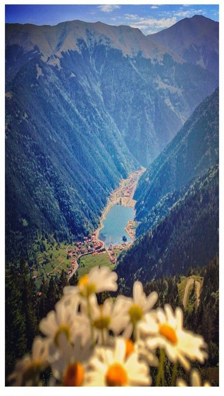 Lake Uzungöl, near the Black Sea (Pontic) Coast of Turkey. Look at those beautiful mountain sides! So steep!