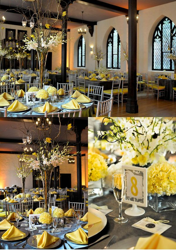 grey table clothes and yellow touches