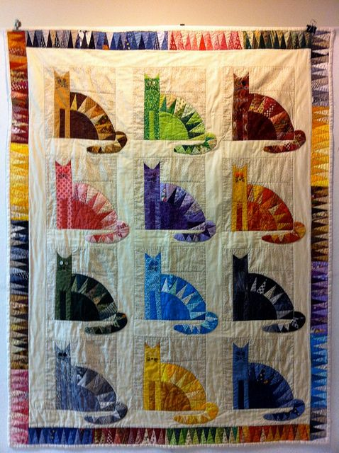 Colorful cat quilt