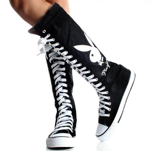 Playboy Bunny Black Lace up Knee High Boots Canvas Women Sneakers