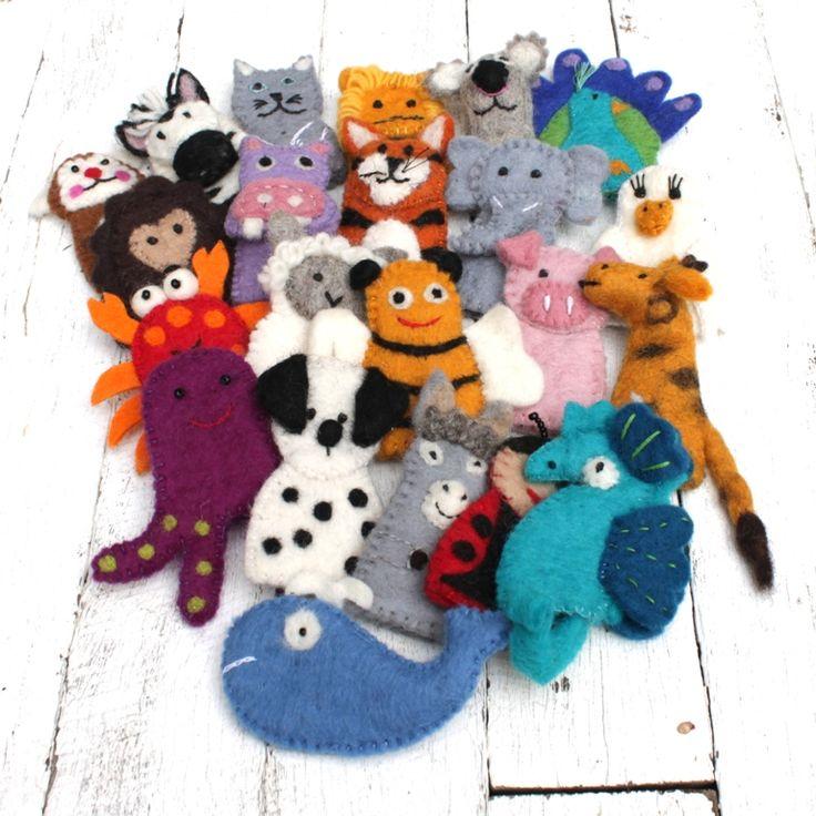 Wonderful felt finger puppets. 10 + designs. All ethically handmade in Nepal using Australian and N.Z sheep wool.