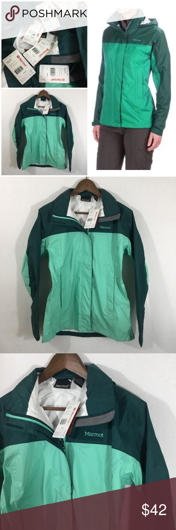 Marmot PreCip waterproof Jacket. XS/S/M/L/XL Marmot PreCip waterproof Jacket.  XS/S/M/L/XL. Color: Celtic/Deep Teal. Features: lightweight, waterproof, breathable, brimmed hood, Front zip with touch fasten storm Flap, pitzips For ventilation, cut longer in back, mesh-lined zip hand pockets, & adjustable cuffs. Excellent, feminine, lightweight rain jacket. Perfect to pair with rain Boots! Marmot Jackets & Coats