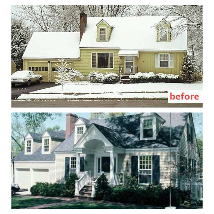 Curb appeal before and after front wrap around porch for External house renovation