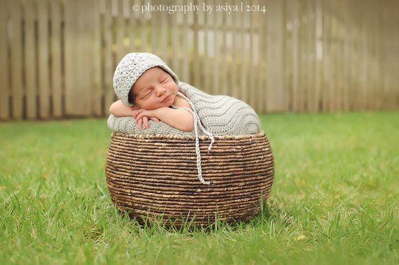 Newborn Photo PropCrochet textured hat for by LaBottegaDiViviana