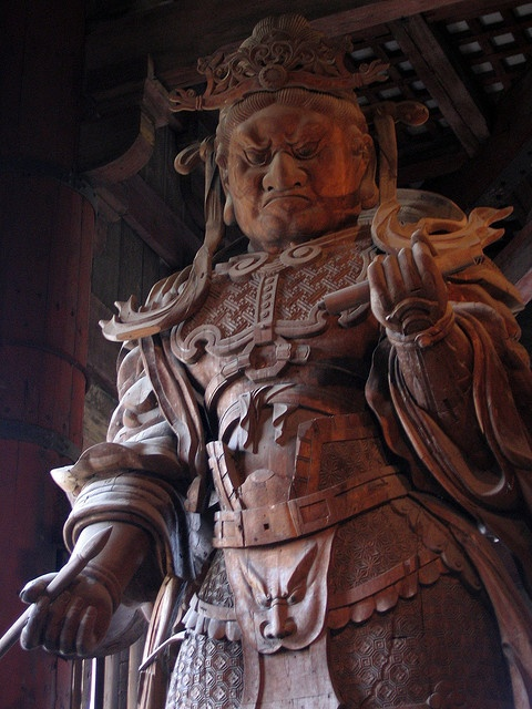 "Komoku-ten statue at Todai-ji temple, Japan: one of the four guardians in Buddhism and Komoku-ten is the ""Guardian of the West""."