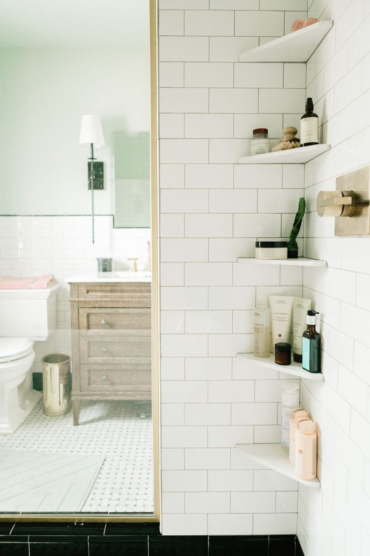 17 best ideas about shower shelves on subway tile showers classic bathroom and 11692