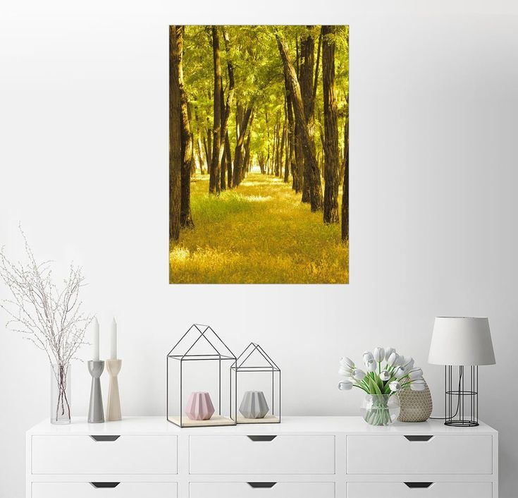 Wandbild »schöne gelbe Herbst Bäume im Wald«