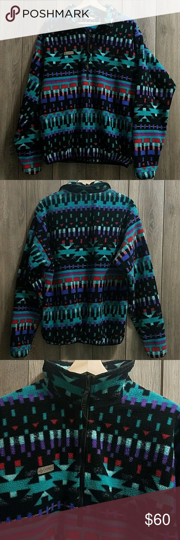 Aztec Print Half Zip Pullover Pre loved but In great condition. This is also great for a woman! This is a half zip pullover. It has an elastic waistband & the same on both ends of the sleeves. I believe this material is/comparable to Sherpa, but not certain,  i took close up pics (4th pic) care tag is faded Columbia Sweaters