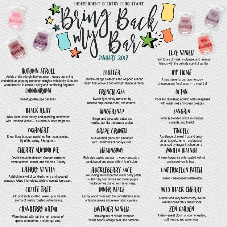 Bring Back My Bar 2017 25 retired fragrances are back for the month of January or while supplies last.  Don't miss out on these amazing scents! https://beckyrowland.scentsy.us/shop/c/3384/bring-back-my-bar