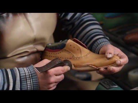 Handmade shoe making - spinning stitch close-up - YouTube
