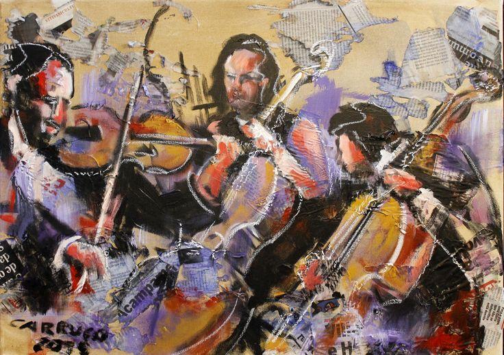 """""""Orquestra"""" / """"Orchestra"""" Técnica mista sobre tela / Mixed media on canvas 50 x 70 cm 2015"""