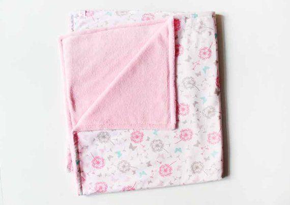 Babydecke Kuscheldecke Rose Pusteblume Kinderwagendecke