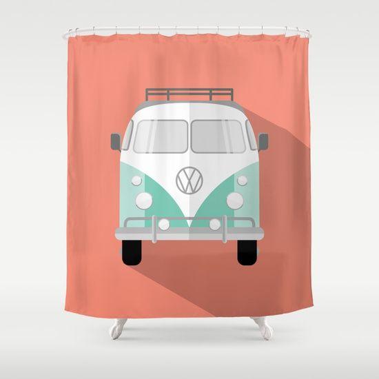Retro Bus Shower Curtain by Shayray | Society6