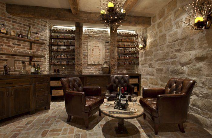 The wine room, a signature room of the house, includes wine racks - Wine room design