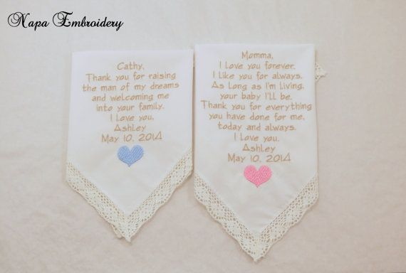 Mother of the Bride and Mother in law WEDDING Gifts Embroidered Wedding Handkerchiefs by Napa Embroidery, $49.95