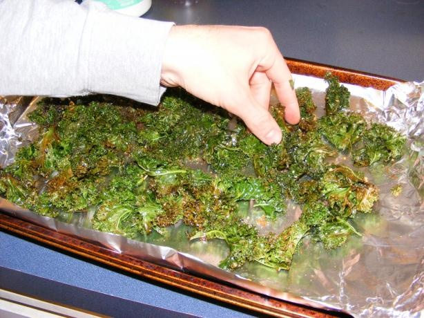 Kale Chips: They're SO good, but don't expect to be able to go hog wild on guacamole with them. They're super fragile. Also, you should only bake them one layer at a time if you use an entire bunch of kale. Lastly, they get soft and kind of oily if you don't eat them while they're hot. I'm gonna try pan frying them or re-baking them to see if I can get them crunchy again.