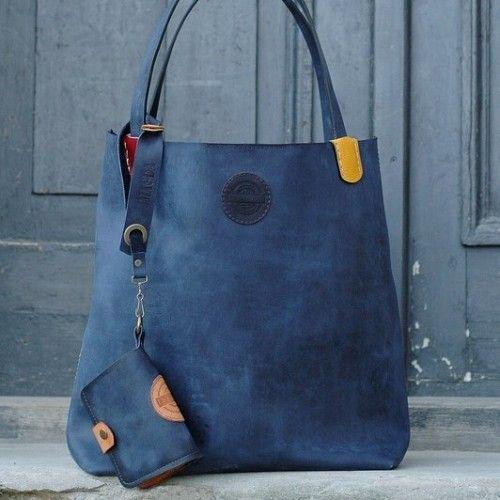 handmade leather woman handbag Zuza with wallet, art design by Ladybuq on Artfire blue dark