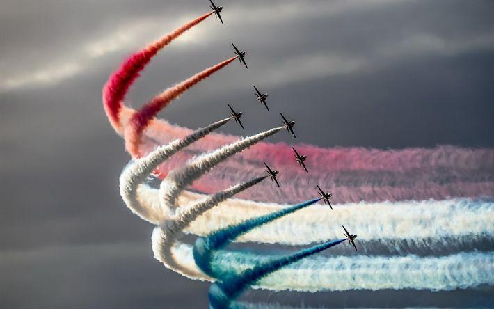 Lataa kuva taitolento joukkue, Punaiset Nuolet, Hawker Siddeley Hawk, Royal Air Force, Iso-Britannia, lippu Ranska