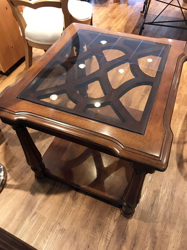 Glass Top End Table - $45.00