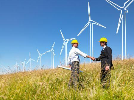 Engineers building windmills