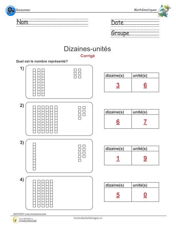 Exercice dizaines-unités   Exercice, Mathématiques et ...