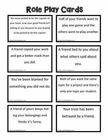 Role Play Cards Social Skills For Kids Family Therapy