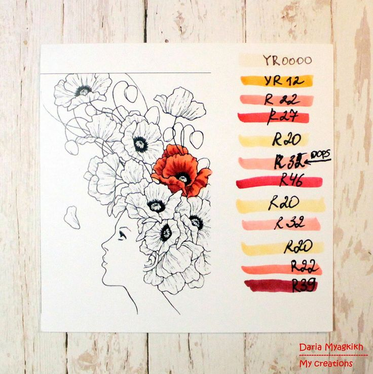 Copic Marker Europe: Coloring poppies with Daria Myagkikh