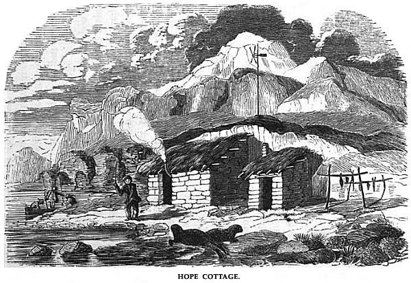 "Engraving of ""Hope Cottage"", the name given to the two comfortable cabins built at Long Point (now called Pointe Charlotte) on the east coast of Courbet Peninsula of the kerguelen Islands by a shipwrecked British cartographer and sealer named John Nunn and his crew in 1825. They weren't rescued until 1827, and didn't return to England until 2 years after that."