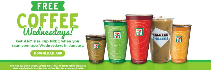 7-Eleven Free Coffee and Slurpee Deal : January 2017 - https://couponsdowork.com/restaurant-coupons/7-eleven-free-coffee-and-slurpee-deal-january-2017/