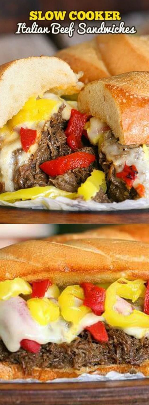 These Slow Cooker Italian Beef Sandwiches from The Slow Roasted Italian are perfectly seasoned tender slow cooked beef that is piled high on a toasted bun and topped with ooey gooey cheese — and 2 kinds of peppers!